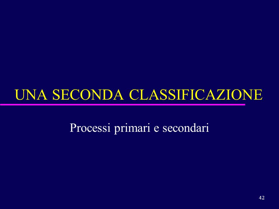UNA SECONDA CLASSIFICAZIONE