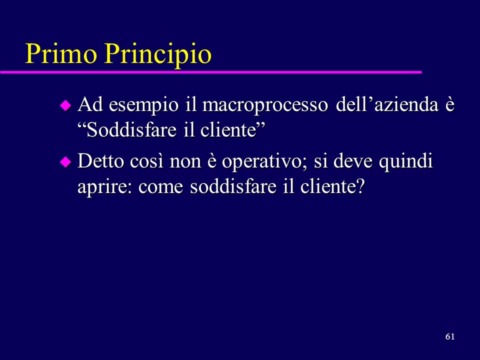 Primo Principio Ad esempio il macroprocesso dell'azienda è Soddisfare il cliente