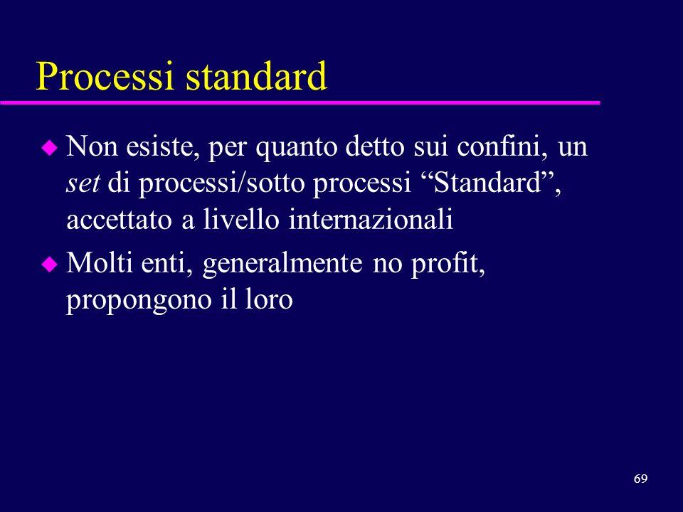 Processi standard Non esiste, per quanto detto sui confini, un set di processi/sotto processi Standard , accettato a livello internazionali.