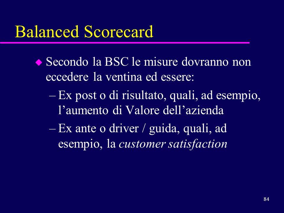 Balanced Scorecard Secondo la BSC le misure dovranno non eccedere la ventina ed essere: