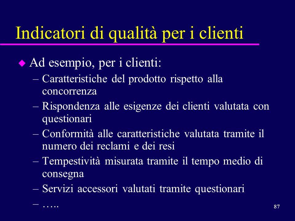 Indicatori di qualità per i clienti