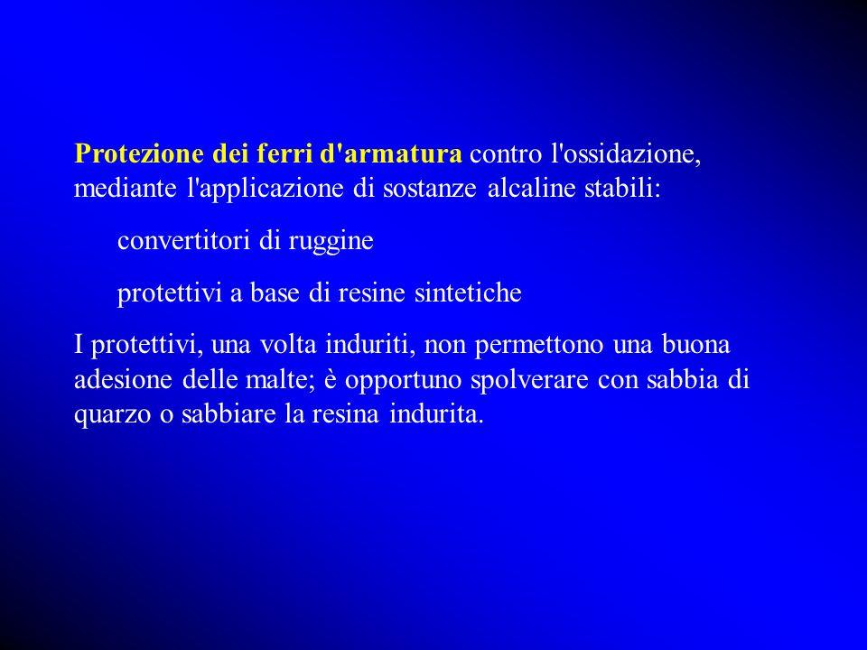 Protezione dei ferri d armatura contro l ossidazione, mediante l applicazione di sostanze alcaline stabili:
