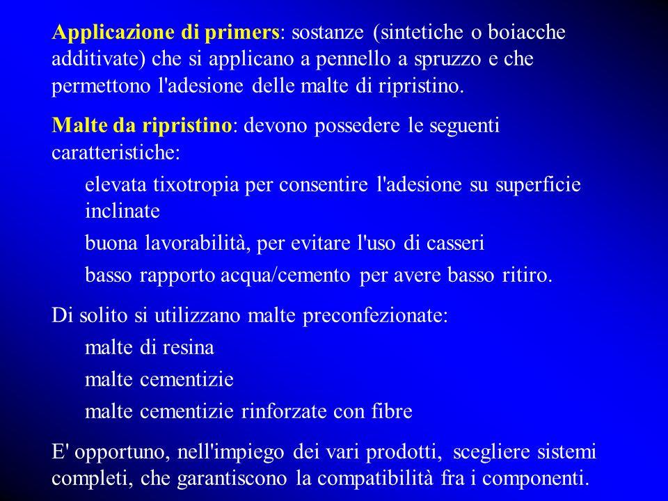 Applicazione di primers: sostanze (sintetiche o boiacche additivate) che si applicano a pennello a spruzzo e che permettono l adesione delle malte di ripristino.