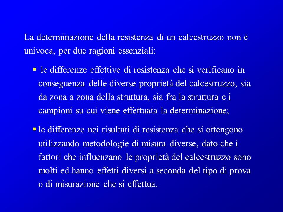 La determinazione della resistenza di un calcestruzzo non è univoca, per due ragioni essenziali:
