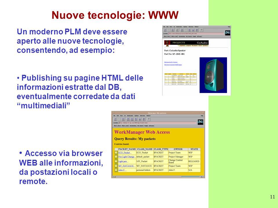 Nuove tecnologie: WWW Un moderno PLM deve essere aperto alle nuove tecnologie, consentendo, ad esempio: