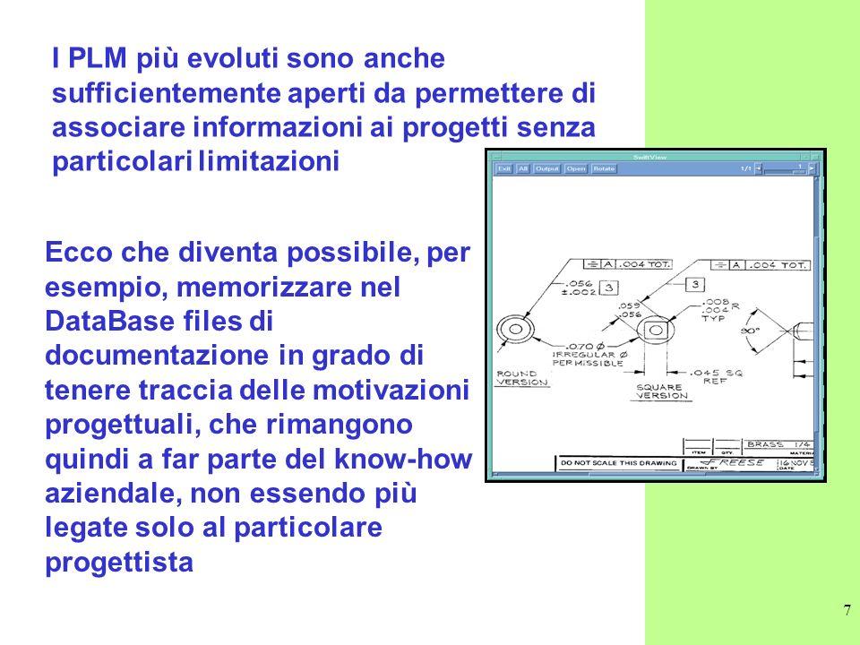 I PLM più evoluti sono anche sufficientemente aperti da permettere di associare informazioni ai progetti senza particolari limitazioni
