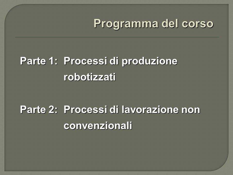 Programma del corso Parte 1: Processi di produzione robotizzati Parte 2: Processi di lavorazione non convenzionali