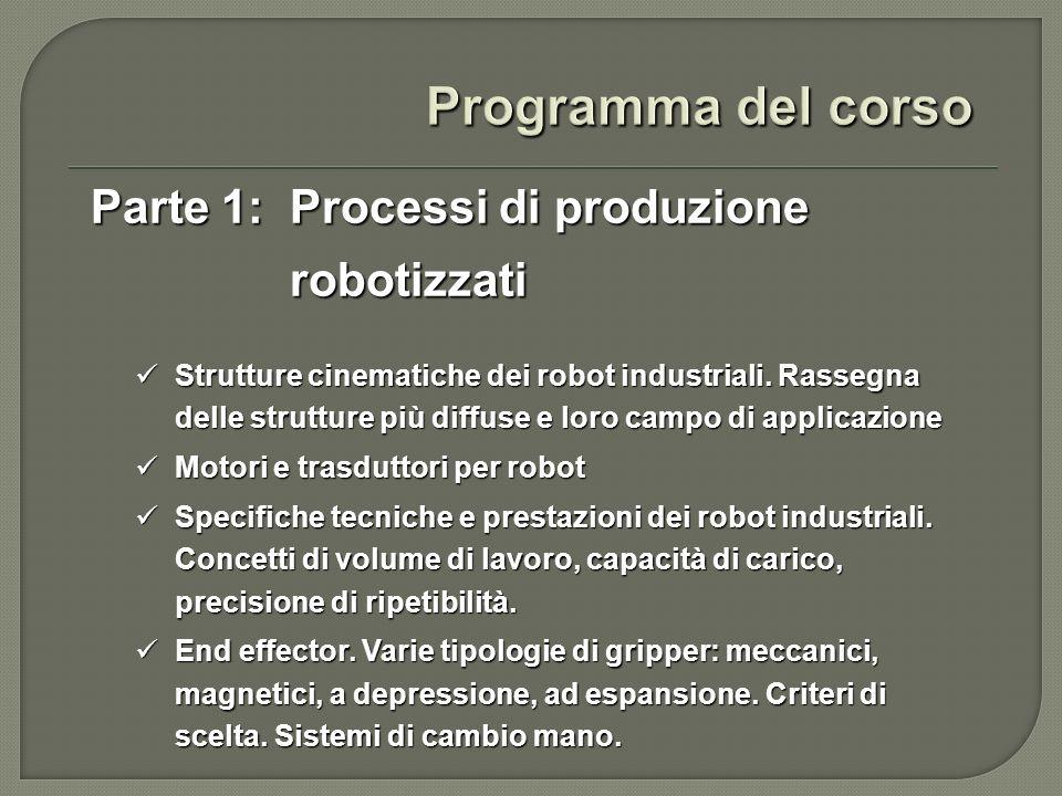 Programma del corso Parte 1: Processi di produzione robotizzati