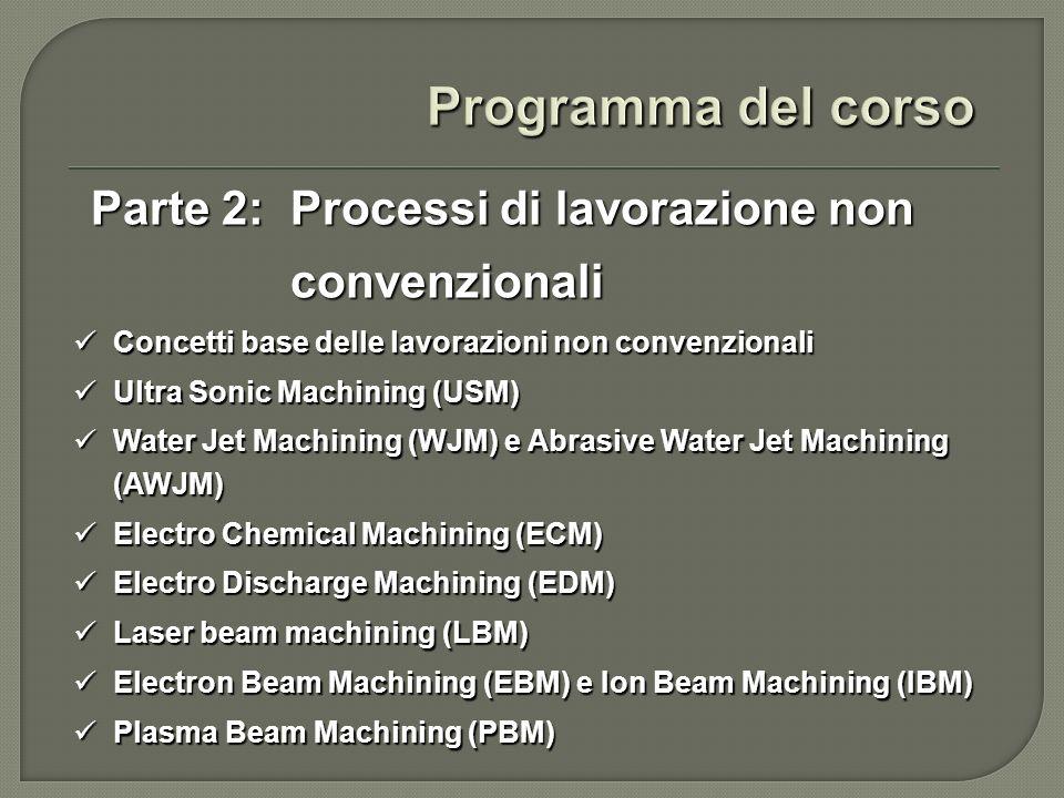 Programma del corso Parte 2: Processi di lavorazione non convenzionali