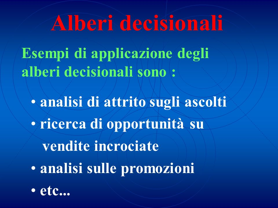 Esempi di applicazione degli alberi decisionali sono :
