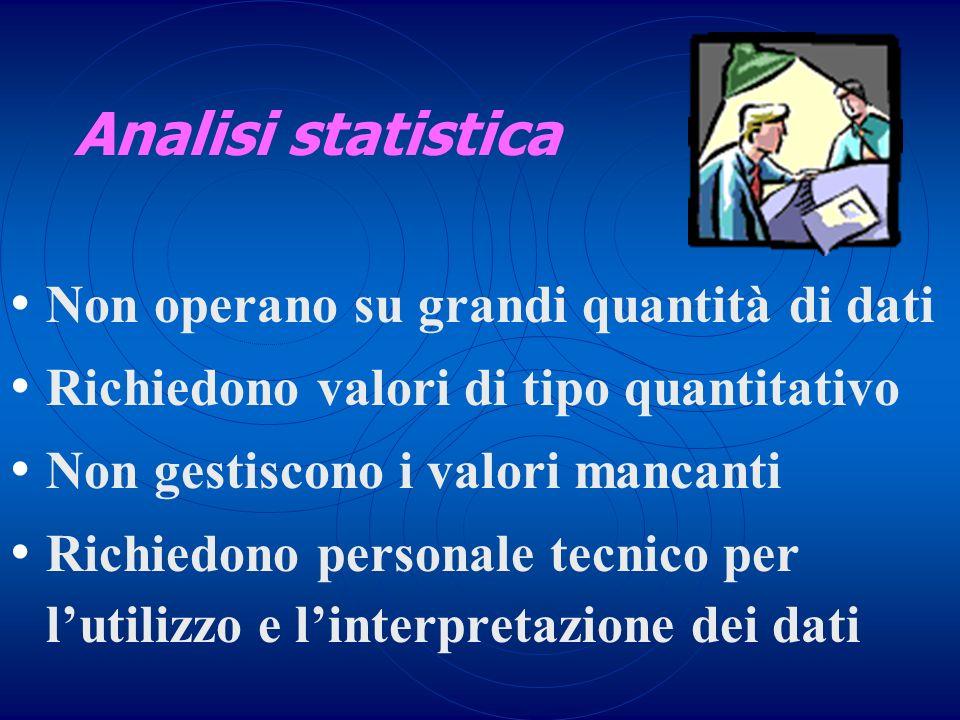 Analisi statistica Non operano su grandi quantità di dati