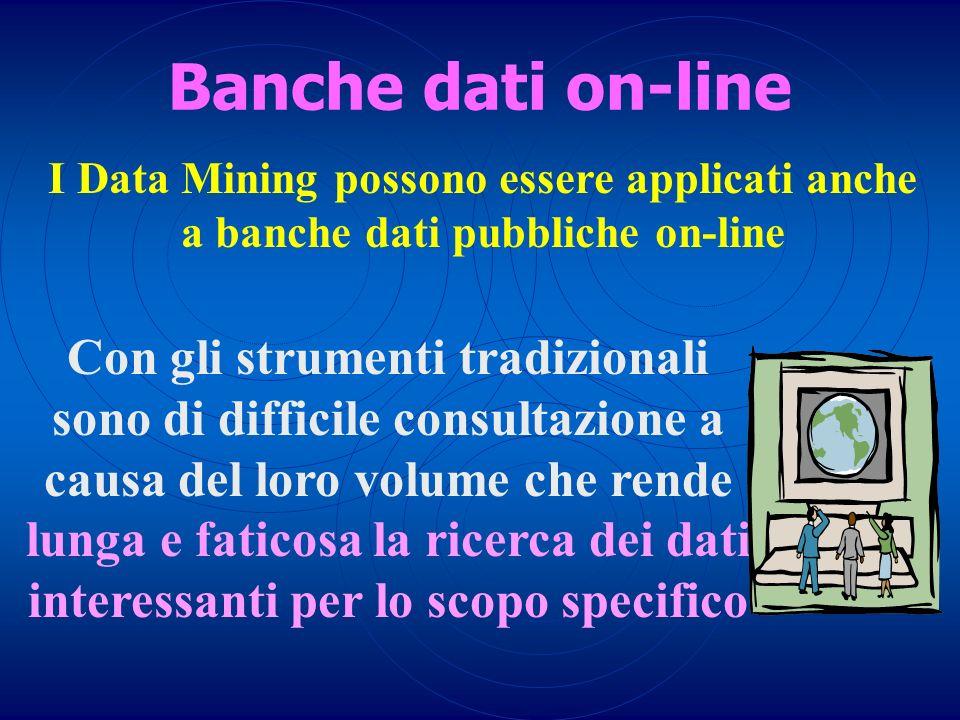 Banche dati on-line I Data Mining possono essere applicati anche. a banche dati pubbliche on-line.