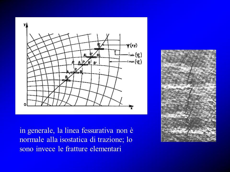 in generale, la linea fessurativa non è normale alla isostatica di trazione; lo sono invece le fratture elementari