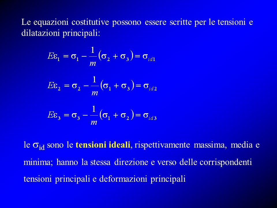 Le equazioni costitutive possono essere scritte per le tensioni e dilatazioni principali: