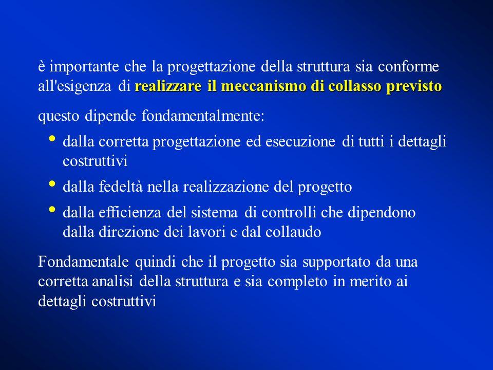 è importante che la progettazione della struttura sia conforme all esigenza di realizzare il meccanismo di collasso previsto