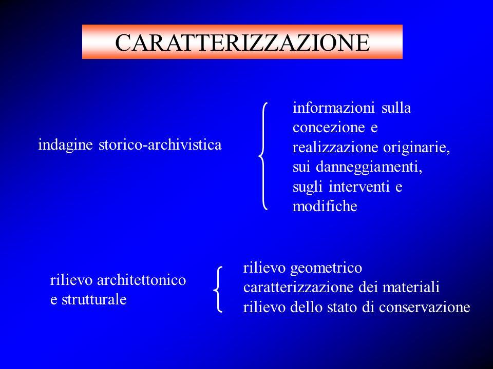 CARATTERIZZAZIONE informazioni sulla concezione e realizzazione originarie, sui danneggiamenti, sugli interventi e modifiche.