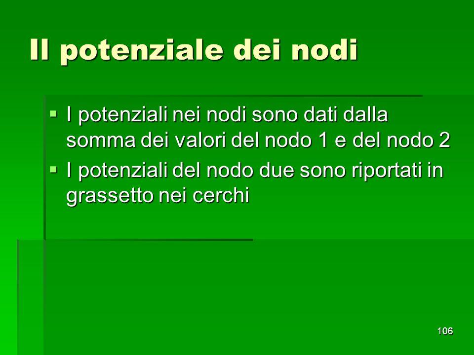 Il potenziale dei nodi I potenziali nei nodi sono dati dalla somma dei valori del nodo 1 e del nodo 2.
