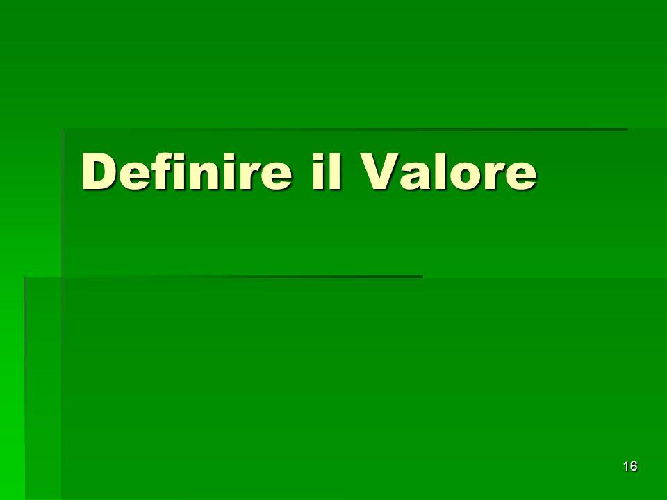 Definire il Valore