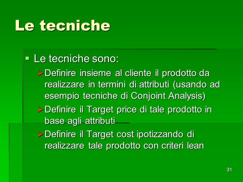 Le tecniche Le tecniche sono:
