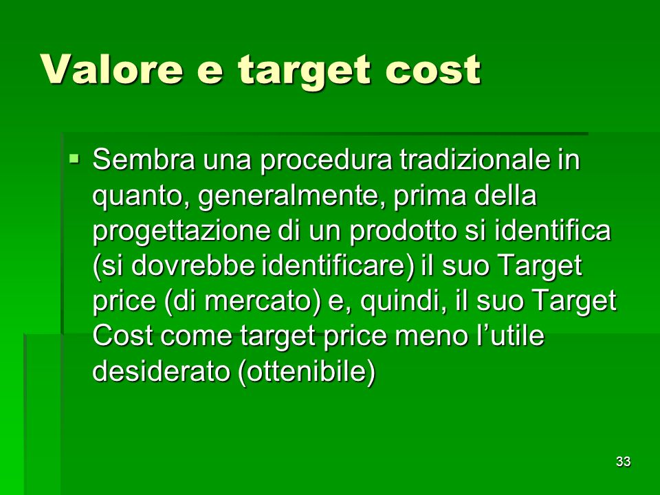 Valore e target cost