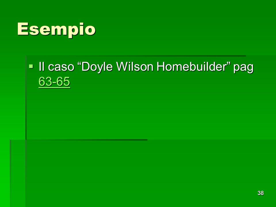 Esempio Il caso Doyle Wilson Homebuilder pag 63-65