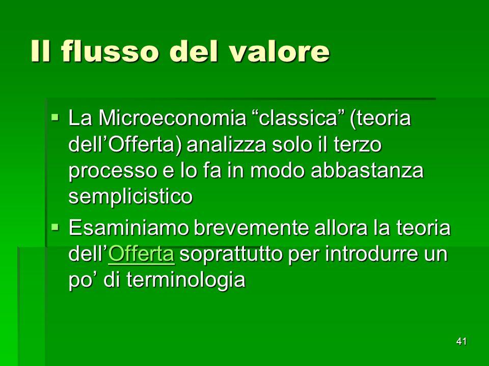 Il flusso del valore La Microeconomia classica (teoria dell'Offerta) analizza solo il terzo processo e lo fa in modo abbastanza semplicistico.