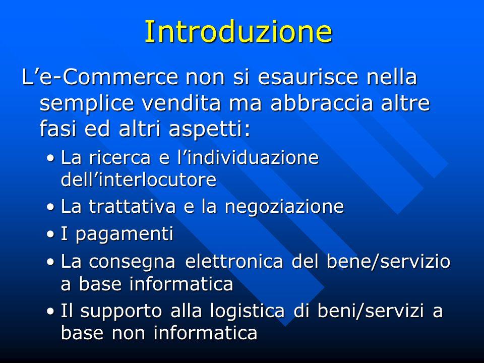 Introduzione L'e-Commerce non si esaurisce nella semplice vendita ma abbraccia altre fasi ed altri aspetti: