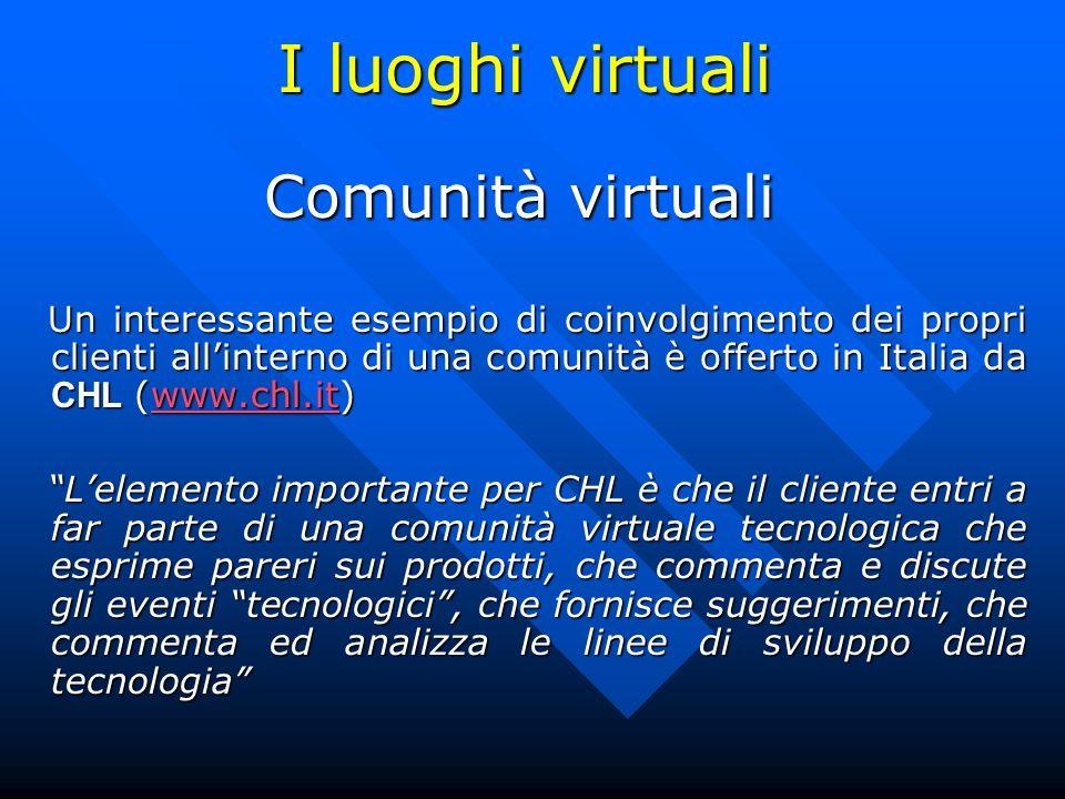 I luoghi virtuali Comunità virtuali