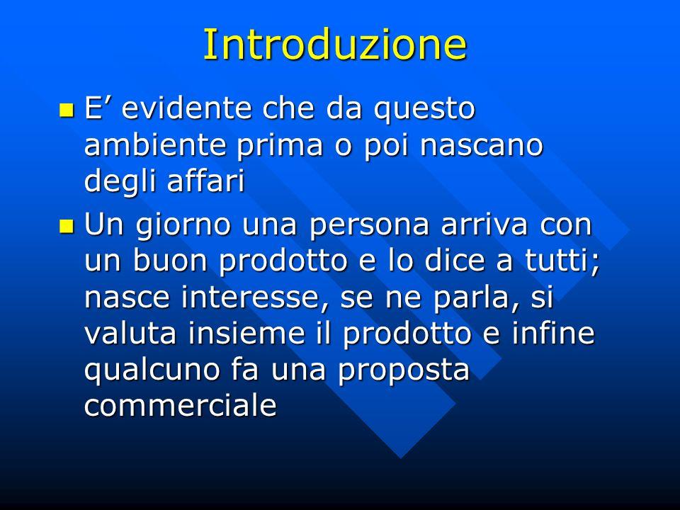 Introduzione E' evidente che da questo ambiente prima o poi nascano degli affari.