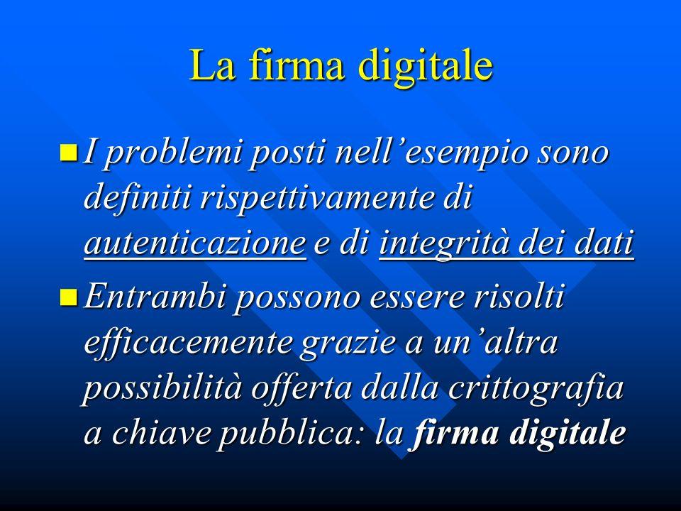 La firma digitale I problemi posti nell'esempio sono definiti rispettivamente di autenticazione e di integrità dei dati.