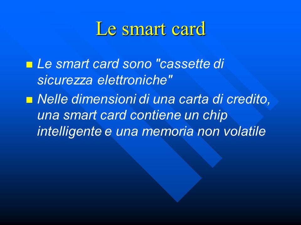 Le smart card Le smart card sono cassette di sicurezza elettroniche