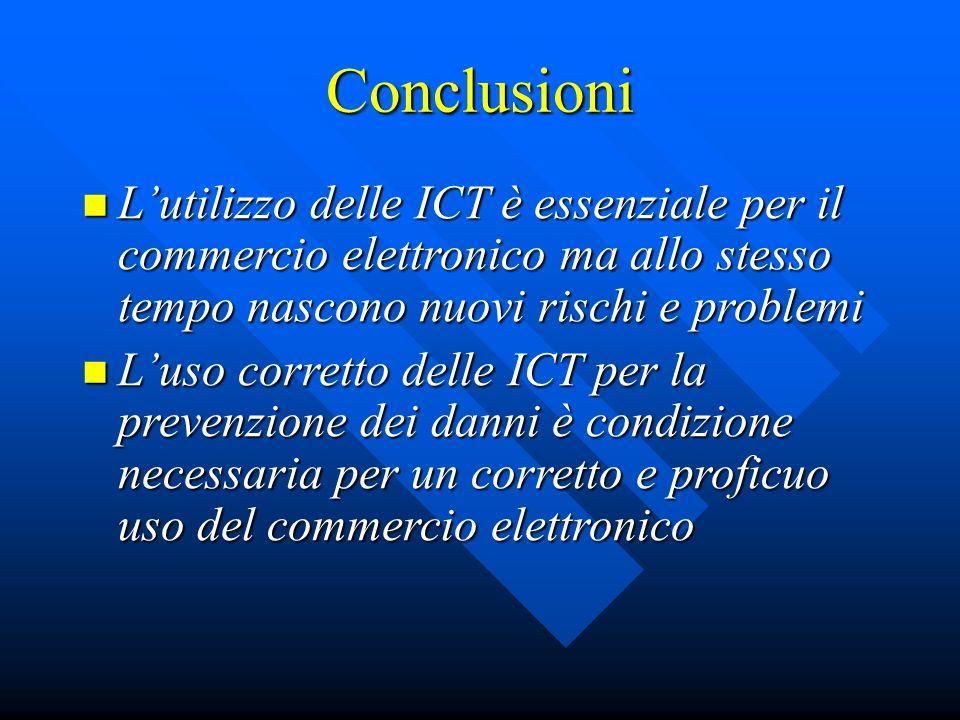 Conclusioni L'utilizzo delle ICT è essenziale per il commercio elettronico ma allo stesso tempo nascono nuovi rischi e problemi.