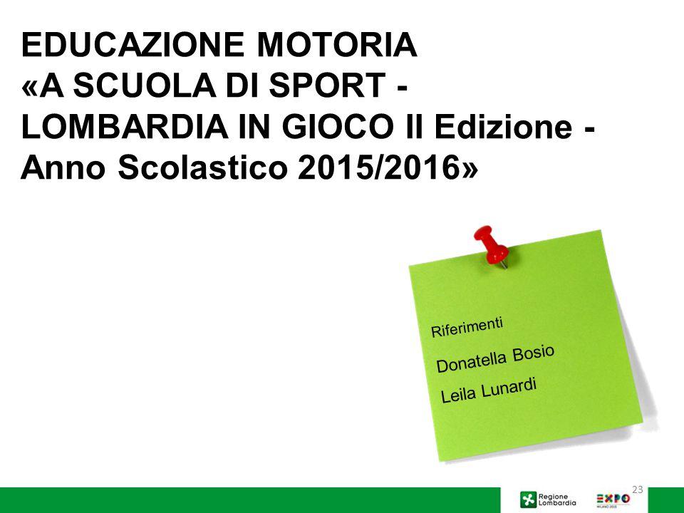 «A SCUOLA DI SPORT - LOMBARDIA IN GIOCO II Edizione -