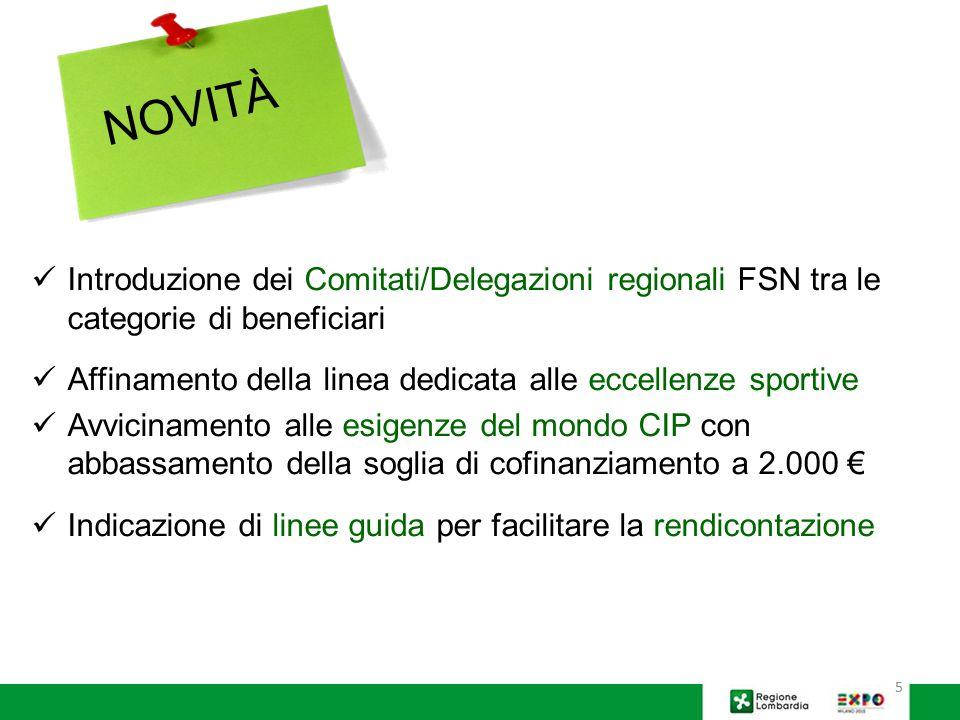 NOVITÀ Introduzione dei Comitati/Delegazioni regionali FSN tra le categorie di beneficiari.