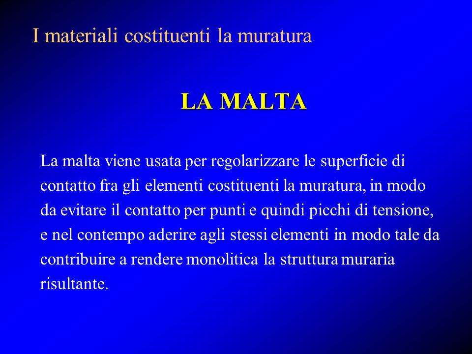 LA MALTA I materiali costituenti la muratura
