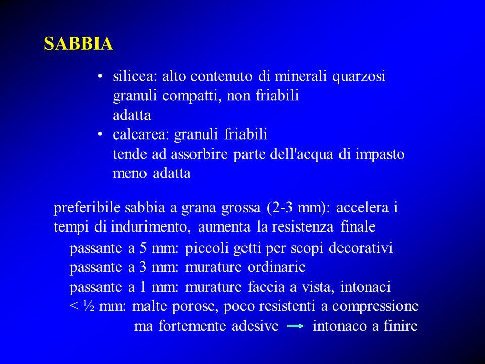 SABBIA silicea: alto contenuto di minerali quarzosi