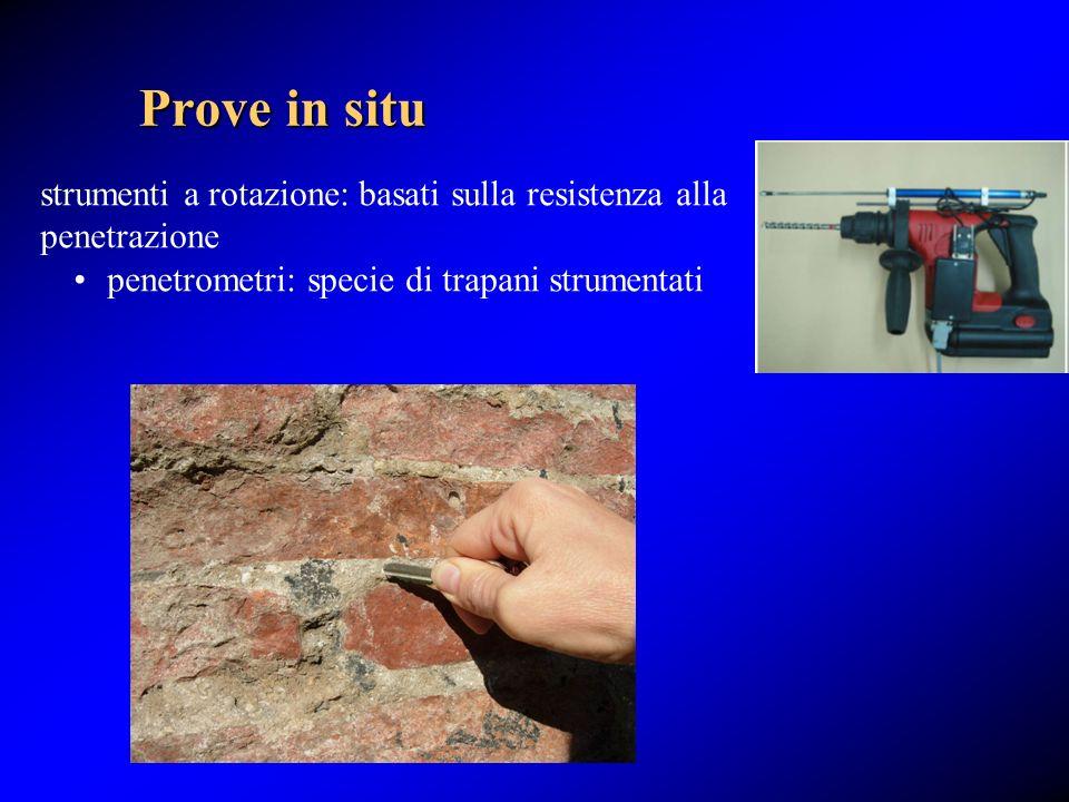 Prove in situ strumenti a rotazione: basati sulla resistenza alla penetrazione.