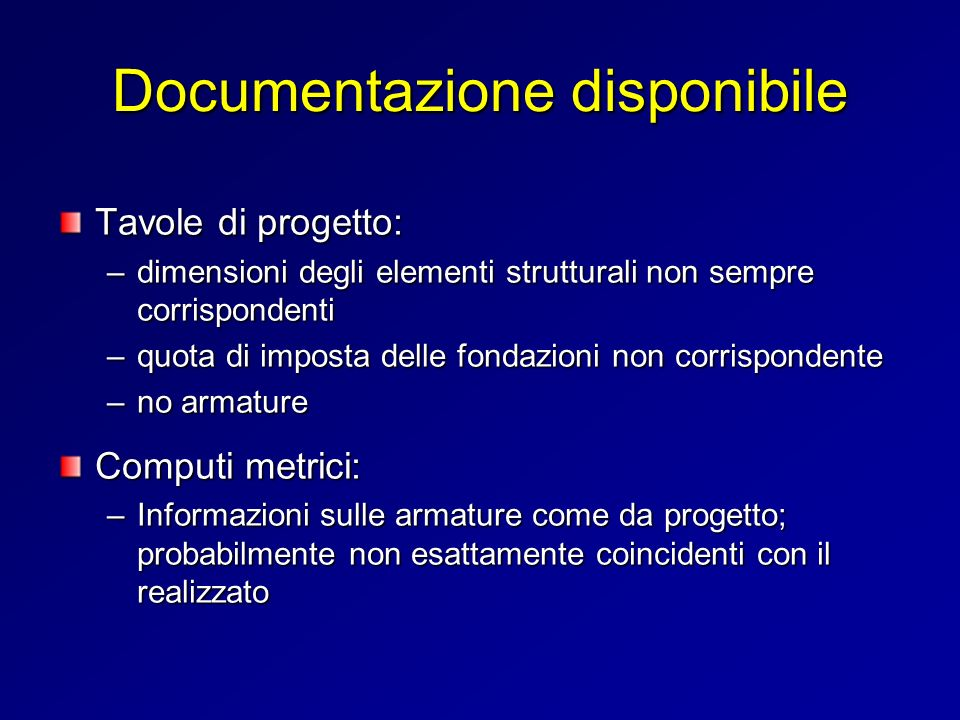 Documentazione disponibile