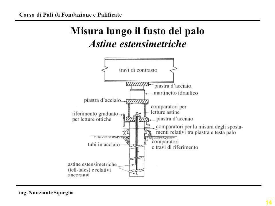 Misura lungo il fusto del palo Astine estensimetriche