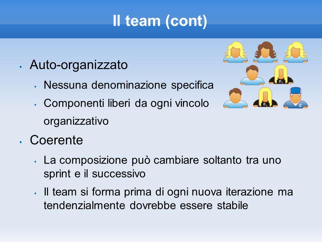 Il team (cont) Auto-organizzato Coerente