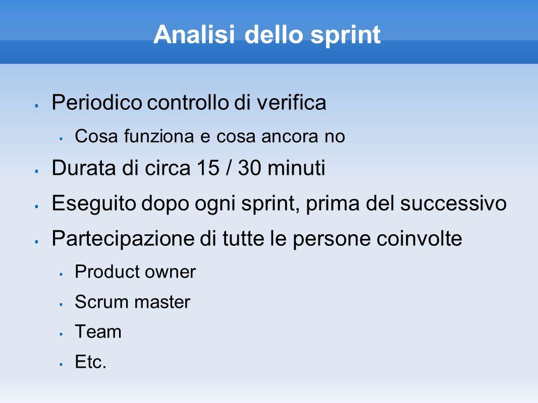 Analisi dello sprint Periodico controllo di verifica