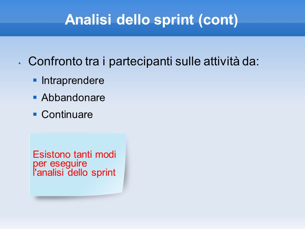 Analisi dello sprint (cont)