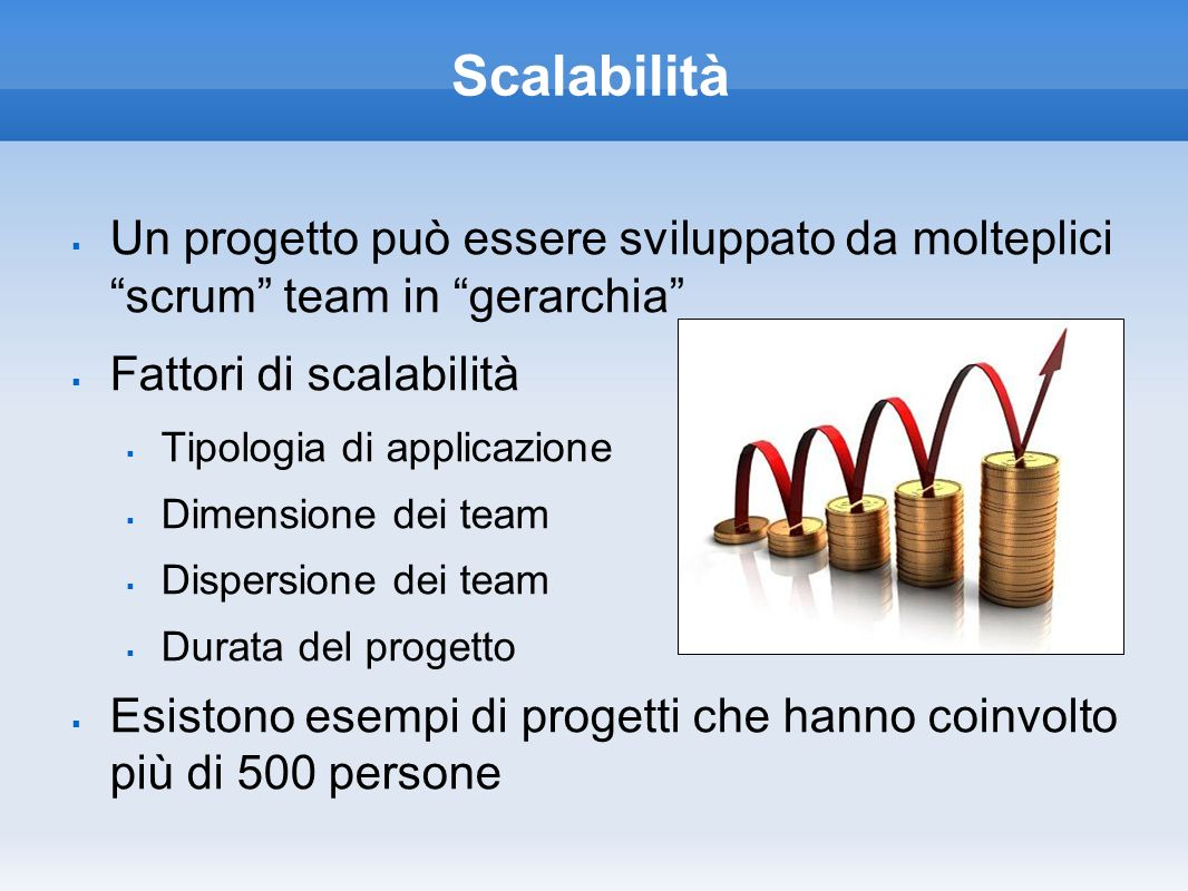 Scalabilità Un progetto può essere sviluppato da molteplici scrum team in gerarchia Fattori di scalabilità.