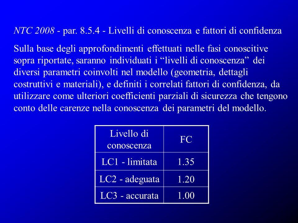 NTC 2008 - par. 8.5.4 - Livelli di conoscenza e fattori di confidenza