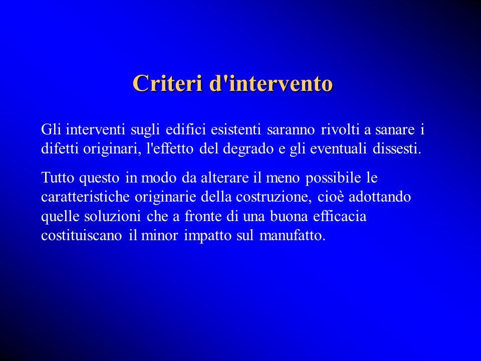 Criteri d intervento