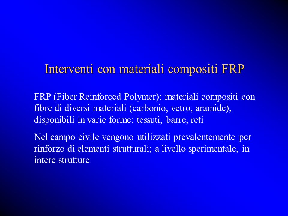 Interventi con materiali compositi FRP