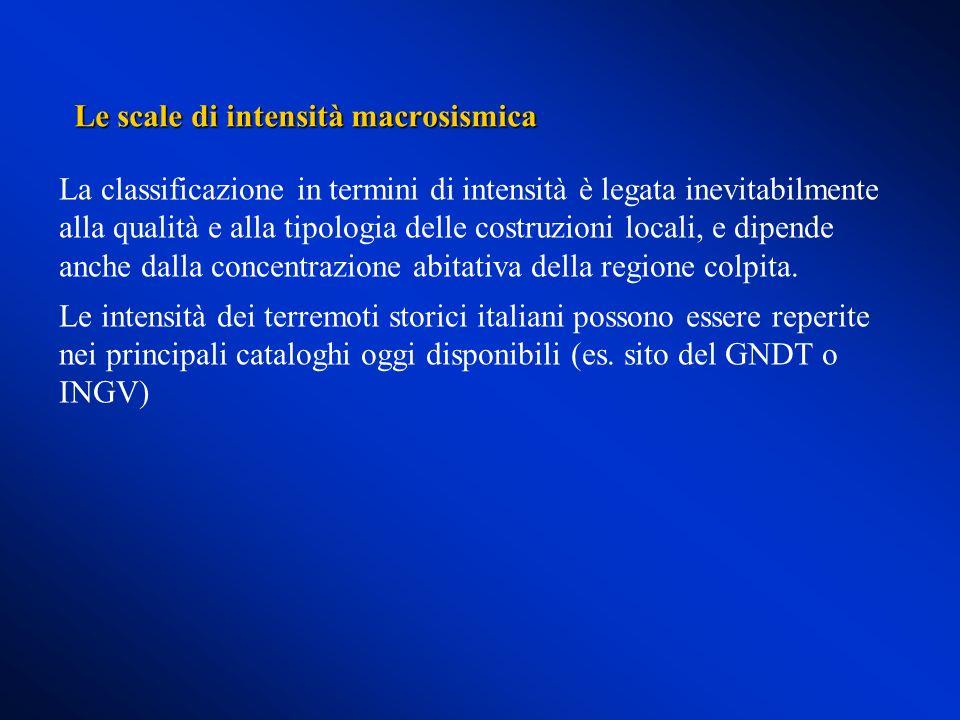 Le scale di intensità macrosismica
