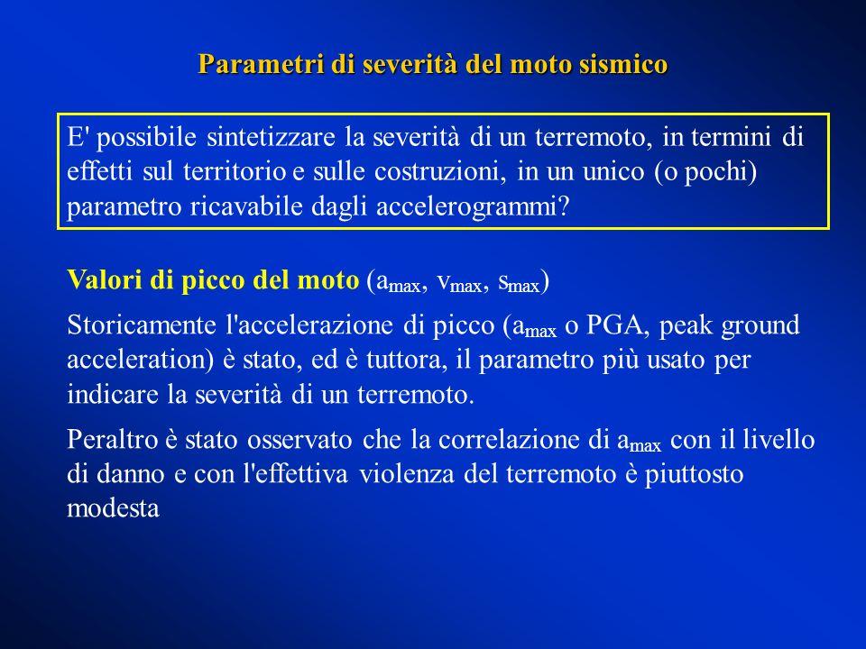 Parametri di severità del moto sismico