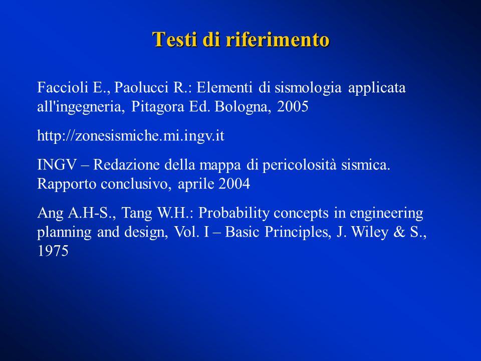 Testi di riferimento Faccioli E., Paolucci R.: Elementi di sismologia applicata all ingegneria, Pitagora Ed. Bologna, 2005.