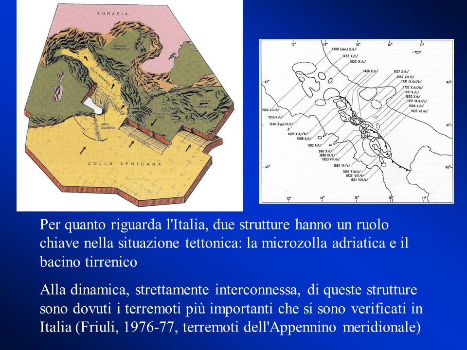 Per quanto riguarda l Italia, due strutture hanno un ruolo chiave nella situazione tettonica: la microzolla adriatica e il bacino tirrenico